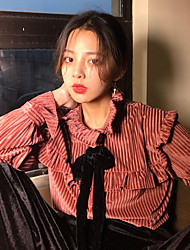 Really making 2017 new retro court style flounced velvet bow striped shirt female
