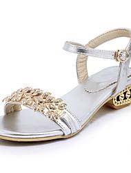 Women's Sandals Summer Fall Club Shoes PU Office & Career Dress Casual Low Heel Rhinestone Buckle