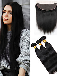 Vinsteen Unprocessed 8A Brazilian Human Hair Extensions Straight Brazilian Virgin Hair weft 4Pcs Natural Black Can Be Dyed with Lace Frontal Closure