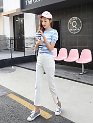 Sign Korean version was thin waist boot-cut jeans black pantyhose character design slit wide leg pants