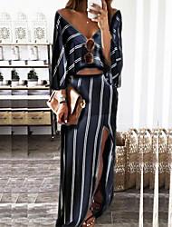 Aliexpress de ventas de eBay rayas europeas y atractivo del halter con cuello en V vestido de dos piezas de la moda americana irregulares