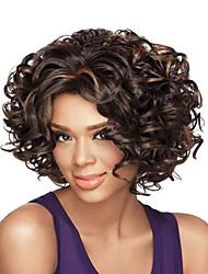 Femme Perruque Synthétique Sans bonnet Court Frisés Marron Perruque afro-américaine Mèches Colorées / Balayées Perruque Naturelle