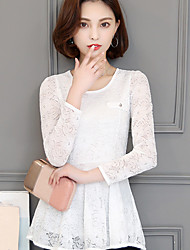 Знак 2017 весна новый корейский шею с длинными рукавами шифон рубашка кружева рубашка нижняя рубашка маленькая рубашка старинные шайи