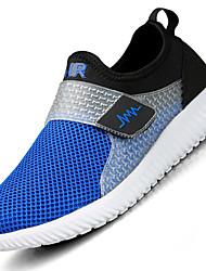 Hombre-Tacón Plano-Suelas con luz-Zapatillas de deporte-Exterior Informal Deporte-Tul-Azul Oscuro Gris Azul