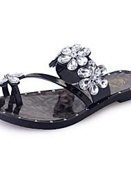 Damen-Sandalen-Lässig-PU-Flacher Absatz-Leuchtende Sohlen-Schwarz Silber