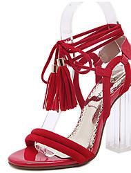 Feminino-Sandálias-Sapatos clube-Salto Grosso-Preto Vermelho-Flanelado-Social