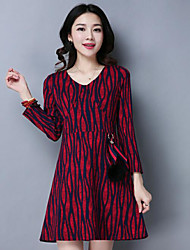 Women's Going out Loose Dress,Print V Neck Above Knee Long Sleeve Silk Spring Mid Rise Stretchy Thin