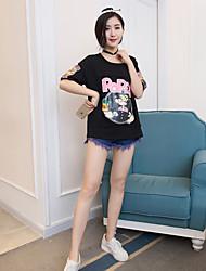 Modelo real tiro verão versão coreana foi letras finas impressas cartoons deslizamento ombro uma grande versão de algodão branco casual