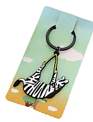 Key Chain Horse Key Chain Black White Plastic