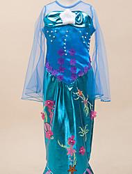 Vestidos Inspirado por The Little Mermaid Alice Carroll Anime Acessórios para Cosplay Malha Collant Cauda Azul Terylene