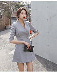 Women's Going out Bodycon Sheath Dress,Solid V Neck Above Knee ¾ Sleeve Silk Spring Summer High Rise Micro-elastic Thin