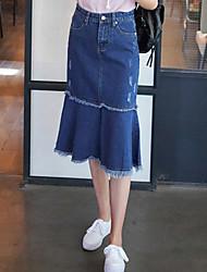 Real shot Korean Fan package hip bust wild fashion denim stitching fishtail skirt umbrella skirt Girls long burr