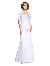 Mermaid / Trumpet Strapless Floor Length Taffeta Mother of the Bride Dress with Beading Appliques Side Draping by LAN TING BRIDE®