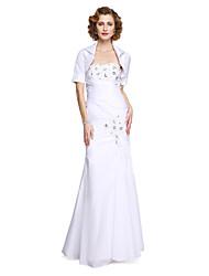 LAN TING BRIDE Sereia Vestido Para Mãe dos Noivos - Elegant Duas Peças Longo Sem Manga Tafetá - Miçangas Apliques Drapeado Lateral