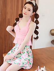Women's Halter Bikini,Floral Polyester