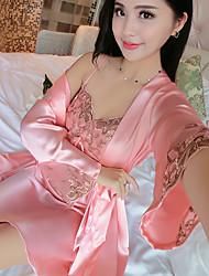 Satin & Soie Costumes Vêtement de nuit Femme,Sexy Couleur Pleine-Moyen Mousseline de soie Viscose Aux femmes