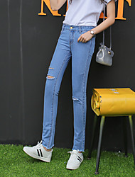 Sign 2017 spring new pants feet BF wind hole jeans Slim cut rotten female pantyhose