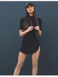 Damen Tunika Kleid-Lässig/Alltäglich Solide Halter Asymmetrisch Kurzarm Baumwolle Sommer Mittlere Hüfthöhe Mikro-elastisch Mittel