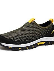 Hombre-Tacón Plano-Confort Suelas con luz-Zapatos de taco bajo y Slip-Ons-Exterior Informal Deporte-Tul-Gris oscuro Gris claro Verde