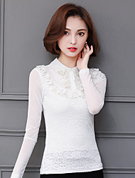 Sign 2017 spring new collar hot drilling long-sleeved white frequently gauze stitching lace shirt