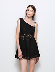 Women's Going out Casual/Daily Beach Simple Street chic A Line Lace Dress,Solid Asymmetrical Mini Sleeveless Cotton Polyester SummerHigh