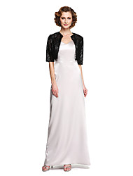 LAN TING BRIDE Sheath / Column Mother of the Bride Dress - Two Pieces Floor-length Sleeveless Stretch Satin with Pleats
