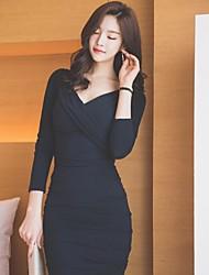 2016 outono e inverno novas mulheres coreanas azul escuro de gola V sexy vezes hip pacote vestido de mangas compridas magro