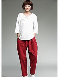 Assinar novo estilo literário multi-bolso costura cintura elástica algodão calças colapso sólido