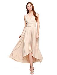 LAN TING BRIDE Asymmetrical Jersey Convertible Dress Bridesmaid Dress - A-line V-neck Plus Size / Petite with