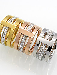 Quality 3 Color Width Brand Design 316L Stainless Steel  Cubic Zircon Rings For Women