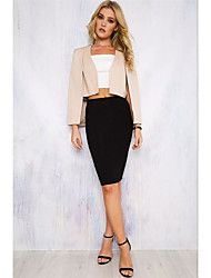 Women's Party/Cocktail Simple Spring Summer Blazer,Solid Shirt Collar Long Sleeve Short Polyester Cut Out