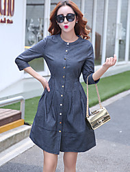 Real shot in Europe and America large size thin jeans stitching short-sleeved dress women Slim 2017 new casual dress was thin a word