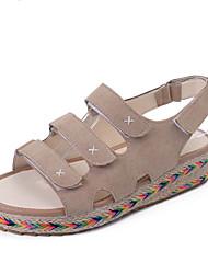 Women's Sandals Comfort PU Spring Summer Casual Comfort Buckle Flat Heel Black Khaki Flat