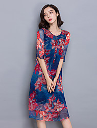 New women fifth sleeve silk long section of the elegant retro print silk dress