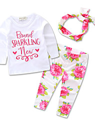 Baby Kids Princess Sets Clothes Hair Band Long Sleeve T-shirt Children's Clothing Set Girls Cotton Printing Rose Suits