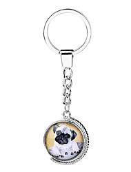 Key Chain Circular Silver Metal