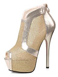 Damen-High Heels-Kleid-Kunstleder-Stöckelabsatz-Komfort-Gold Schwarz Silber