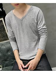 Herbst Baumwolle Langarm T-Shirt Männer schlank V-Ausschnitt Bodenung Shirt Einfarbig Männer&# 39; s lang-sleeved T-Shirt