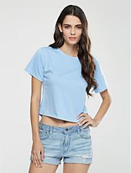 Damen Solide / Druck Sexy Lässig/Alltäglich T-shirt,Rundhalsausschnitt Sommer Kurzarm Blau Baumwolle Undurchsichtig