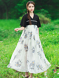 Sign smoked purple flower embroidery Chinese antiquity fly sleeve element long paragraph chiffon dress summer female national wind