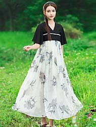assinar fumado flor roxa bordados antiguidade chinesa elemento de manga voar parágrafo longo vestido de chiffon verão vento feminino