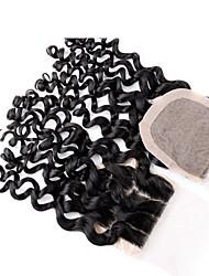 fermetures brésiliens vierges de base de soie d'onde profondes, Stock cheveu humain Vente en gros 3 partie fermeture de la base de soie