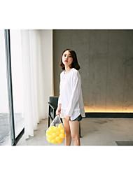 Damen Solide Einfach Lässig/Alltäglich T-shirt,Rundhalsausschnitt Langarm Baumwolle