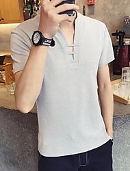 Slim T-shirt à col en V de couleur uniseuse