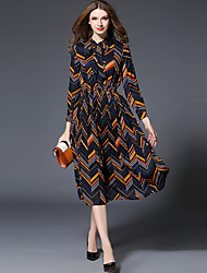 Going out Vintage Swing Dress,Print Stand Midi ¾ Sleeve Polyester Purple Spring Mid Rise Inelastic