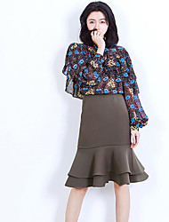 Women's Going out Casual/Daily Cute Blouse,Floral Round Neck Long Sleeve Others