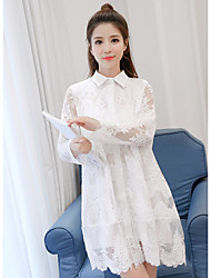 Sign lace long section of the new fashion trends long-sleeved dress bottoming