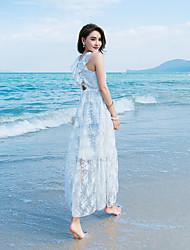 Signe collier lei siou organza strapless blanc robe d'été station balnéaire déesse féerique