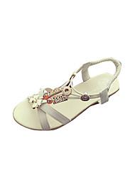 Femme Sandales Confort bottes slouch Polyuréthane Eté Décontracté Marche Confort bottes slouch Boucle Talon Compensé Blanc Noir Plat