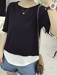Signer une chemise en couleur unie simple en vrac coutures fausses deux chemise en t-shirt en coton à manches courtes femme 6535